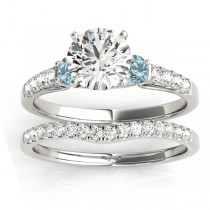 Diamond & Aquamarine Three Stone Bridal Set Ring 18k White Gold (0.55ct)
