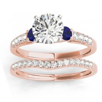 Diamond & Blue Sapphire Three Stone Bridal Set Ring 14k Rose Gold (0.55ct)