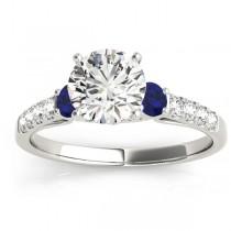 Diamond & Blue Sapphire Three Stone Bridal Set Ring 14k White Gold (0.55ct)