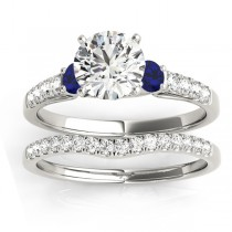 Diamond & Blue Sapphire Three Stone Bridal Set Ring 18k White Gold (0.55ct)