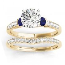 Diamond & Blue Sapphire Three Stone Bridal Set Ring 18k Yellow Gold (0.55ct)