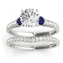Diamond & Blue Sapphire Three Stone Bridal Set Ring Setting Palladium (0.55ct)