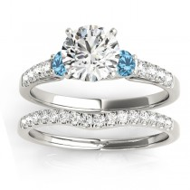 Diamond &  Blue Topaz Three Stone Bridal Set Ring 14k White Gold (0.55ct)