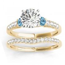 Diamond &  Blue Topaz Three Stone Bridal Set Ring 14k Yellow Gold (0.55ct)