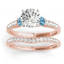 Diamond &  Blue Topaz Three Stone Bridal Set Ring 18k Rose Gold (0.55ct)