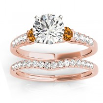 Diamond & Citrine Three Stone Bridal Set Ring 14k Rose Gold (0.55ct)