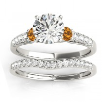 Diamond & Citrine Three Stone Bridal Set Ring 14k White Gold (0.55ct)