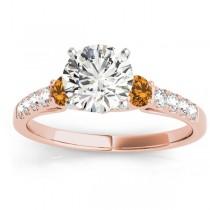 Diamond & Citrine Three Stone Bridal Set Ring 18k Rose Gold (0.55ct)