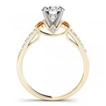 Diamond & Citrine Three Stone Bridal Set Ring 18k Yellow Gold (0.55ct)