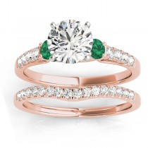 Diamond & Emerald Three Stone Bridal Set Ring 14k Rose Gold (0.55ct)