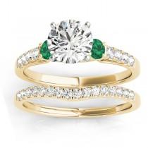 Diamond & Emerald Three Stone Bridal Set Ring 14k Yellow Gold (0.55ct)