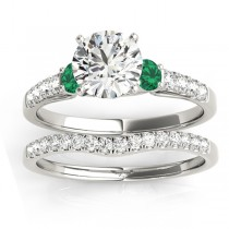 Diamond & Emerald Three Stone Bridal Set Ring 18k White Gold (0.55ct)