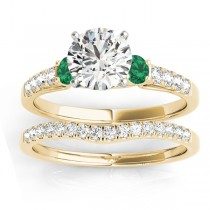 Diamond & Emerald Three Stone Bridal Set Ring 18k Yellow Gold (0.55ct)