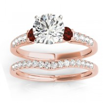Diamond & Garnet Three Stone Bridal Set Ring 14k Rose Gold (0.55ct)