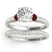 Diamond & Garnet Three Stone Bridal Set Ring 14k White Gold (0.55ct)