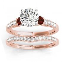 Diamond & Garnet Three Stone Bridal Set Ring 18k Rose Gold (0.55ct)