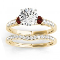 Diamond & Garnet Three Stone Bridal Set Ring 18k Yellow Gold (0.55ct)