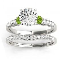 Diamond & Peridot Three Stone Bridal Set Ring 14k White Gold (0.55ct)