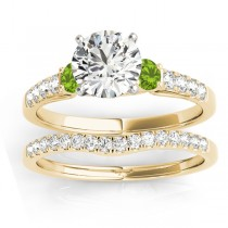 Diamond & Peridot Three Stone Bridal Set Ring 14k Yellow Gold (0.55ct)