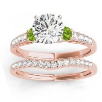Diamond & Peridot Three Stone Bridal Set Ring 18k Rose Gold (0.55ct)