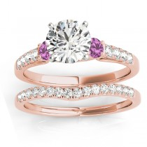 Diamond & Pink Sapphire Three Stone Bridal Set Ring 18k Rose Gold (0.55ct)