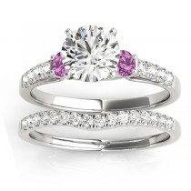 Diamond & Pink Sapphire Three Stone Bridal Set Ring 18k White Gold (0.55ct)