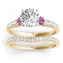 Diamond & Pink Sapphire Three Stone Bridal Set Ring 18k Yellow Gold (0.55ct)