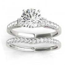 Diamond Three Stone Bridal Set Ring Setting Platinum (0.55ct)