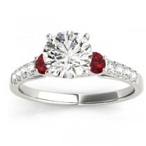 Diamond & Ruby Three Stone Bridal Set Ring 14k White Gold (0.55ct)