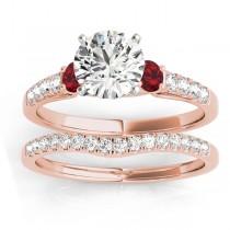 Diamond & Ruby Three Stone Bridal Set Ring 18k Rose Gold (0.55ct)