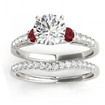 Diamond & Ruby Three Stone Bridal Set Ring 18k White Gold (0.55ct)