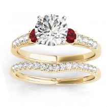 Diamond & Ruby Three Stone Bridal Set Ring 18k Yellow Gold (0.55ct)