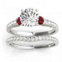 Diamond & Ruby Three Stone Bridal Set Ring Setting Platinum (0.50ct)