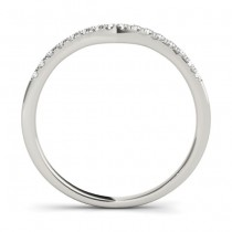 Diamond Contoured Wedding Band 14k White Gold (0.12ct)