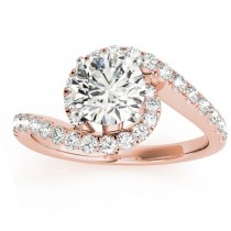 Diamond Twisted Swirl Engagement Ring Setting 18k Rose Gold (0.36ct)