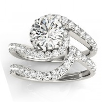 Diamond Twisted Swirl Bridal Set Setting 14k White Gold (0.62ct)