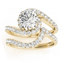 Diamond Swirl Twisted Bridal Set Ring 14k Yellow Gold (0.62ct)