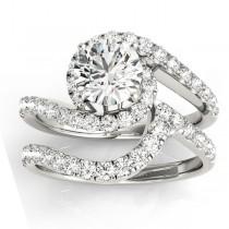 Diamond Twisted Swirl Bridal Set Setting Palladium (0.62ct)