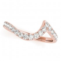 Diamond Accented Contoured Wedding Band 18k Rose Gold (0.26ct)