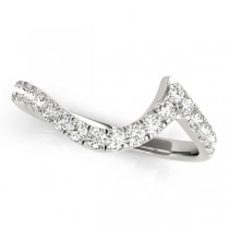 Diamond Accented Contoured Wedding Band 18k White Gold (0.26ct)