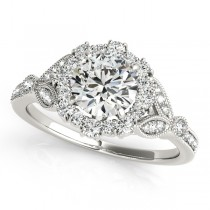 Halo Diamond Floral Engagement Ring Side Stones 14k White Gold 0.98ct