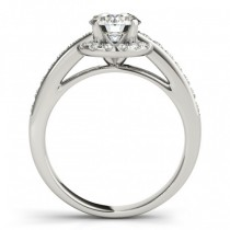 Halo Engagement Ring Setting Diamond Accented Shank 14k W. Gold 0.38ct