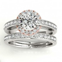 Diamond Halo Engagement Ring Setting Bridal Set 14k Rose Gold 0.63ct