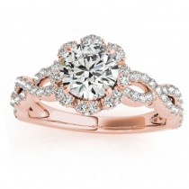 Twisted Halo Diamond Flower Engagement Ring Setting 18k R. Gold 0.63ct