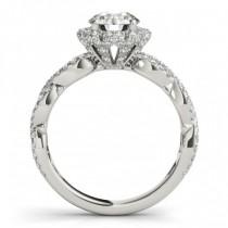 Twisted Halo Diamond Flower Engagement Ring Setting Palladium 0.63ct