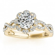 Twisted Halo Diamond Flower Engagement Ring Setting 14k Y. Gold 0.63ct