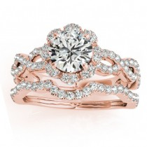 Halo Diamond Engagement & Wedding Rings Bridal Set 18k R. Gold 0.83ct