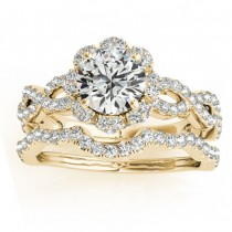 Halo Diamond Engagement & Wedding Rings Bridal Set 18k Y. Gold 0.83ct