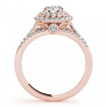 Fairy Tale Double Halo Diamond Engagement Ring 14k Rose Gold (1.13ct)