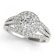 Fairy Tale Double Halo Diamond Engagement Ring 14k White Gold (1.13ct)